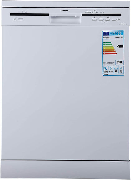 Sharp 6 Programs 12 Place settings, Free standing Dishwasher, White - QW-MB612-WH3 - 2071MALL