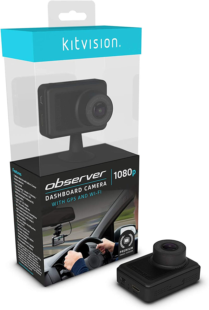 Kitvision Observer 1080P Dashboard Camera With Built-In G Sensor Collision Detector, Motion Detect And Parking Mode - Black - 2071MALL