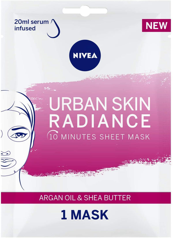 Nivea Face Urban Skin Radiance Sheet Mask Argan Oil & Shea Butter 1Pc - 2071MALL