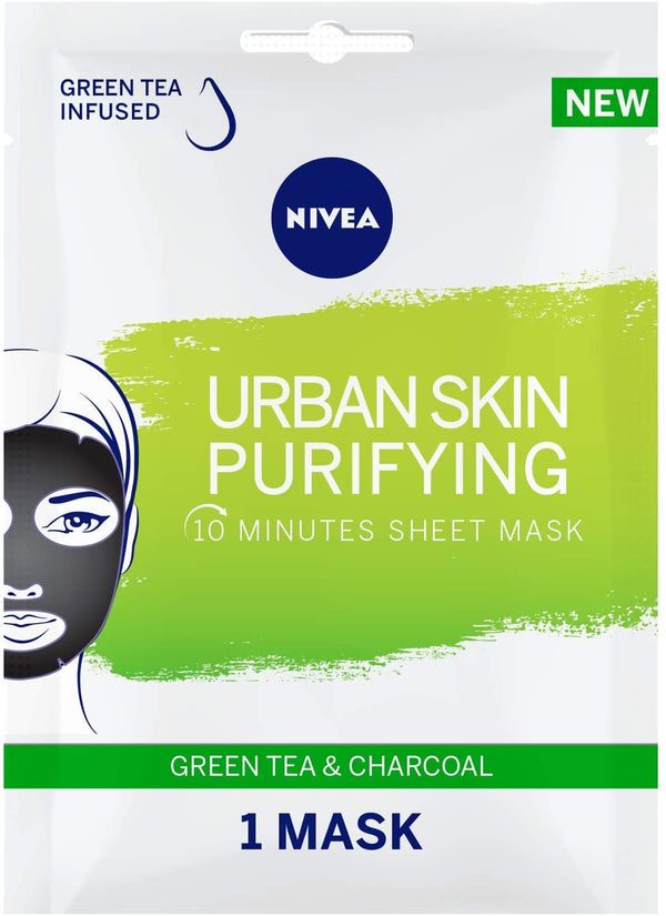 Nivea Face Urban Skin Purifying Sheet Mask Green Tea & Charcoal 1Pc - 2071MALL