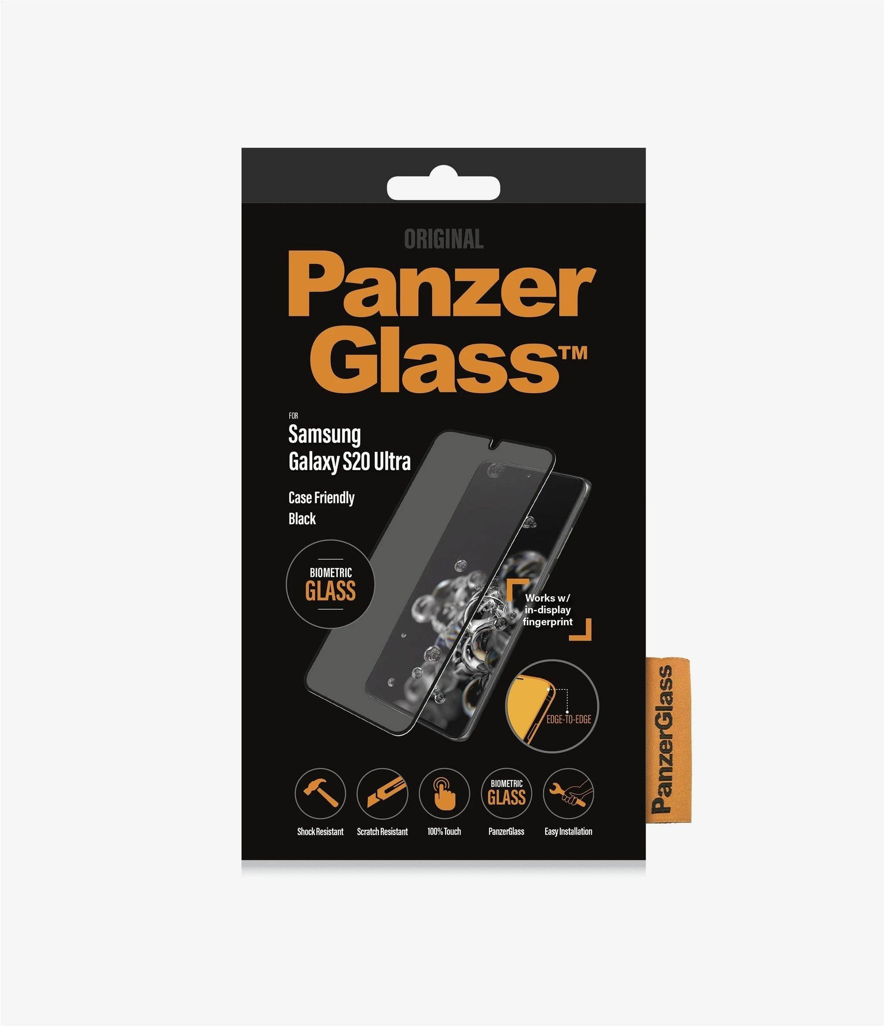 PanzerGlass - Samsung Galaxy S20 Ultra Screen Protector Biometric with Finger Prints - Black, PNZ7224 - 2071MALL
