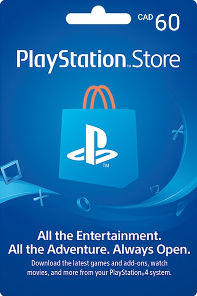 PlayStation Store Canada $60 Canadian Dollar (CAD)/Account details will be sent via email within 24 - 48 hours. Prepaid Only - 2071MALL