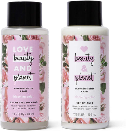 Love Beauty and Planet Shampoo Blooming Color Murumuru Butter & Rose, 400ml +  Conditioner, 400ml - 2071MALL