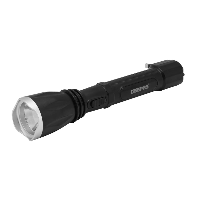 Geepas Rechargable Plastic Led Flashlight 1W Led 4V400Mah 1x100 - Black, GFL5578 - 2071MALL