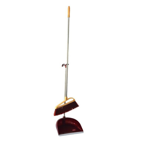 Royalford RF6984 Plastic Broom with Dustpan Set - Hand Broom with Synthetic Stiff Bristles - Broom Set Having Frayed and Angled Tips