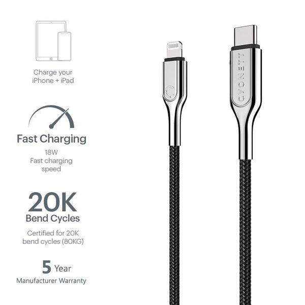 Cygnett USB-C to Lightning Cable Apple Certified MFi, Fast Charging [3A/30W] [Sync] [Charge] Long Lasting, 5 Years Warranty - All iOS devices - Stainless Steel Armored Braided - 2M/6ft - Black - 2071MALL