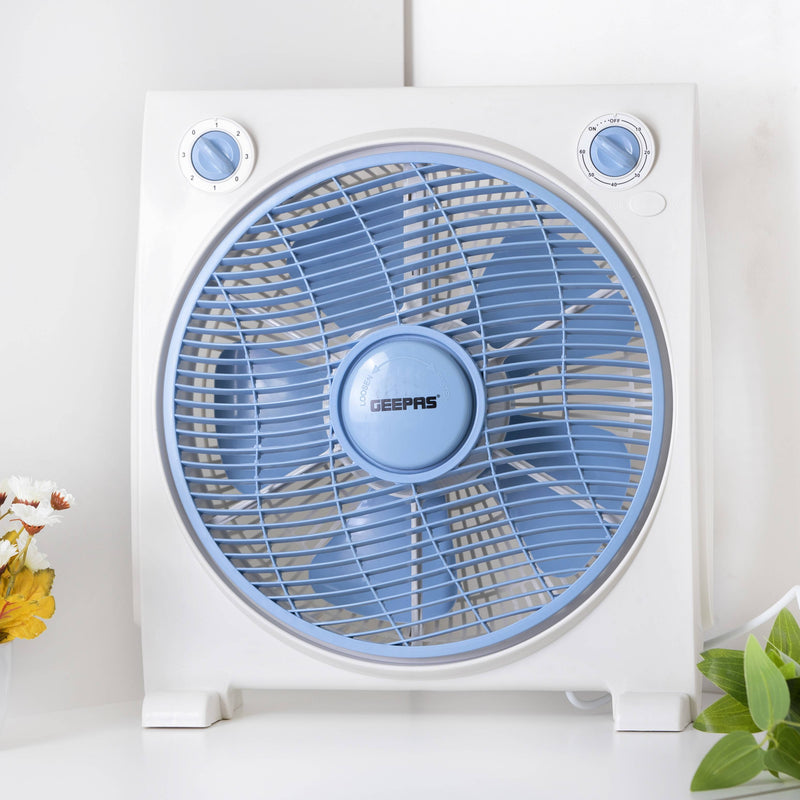 Geepas Electric Box Fan 40W 1X4 - White/Blue, GF21113 - 2071MALL