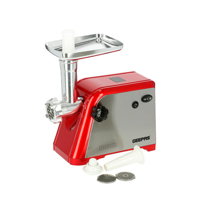 Geepas Stainless Steel Meat Grinder Reverse Metal Gears 1x4 - Steel/Red, GMG1910 - 2071MALL