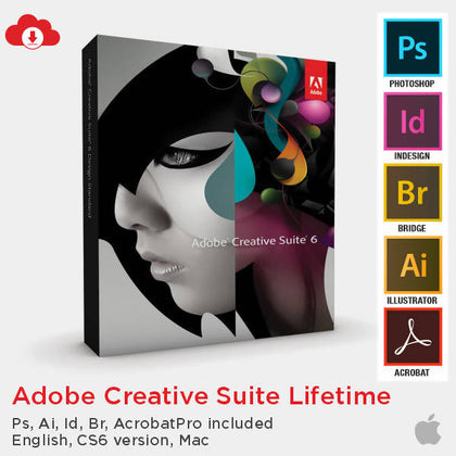 Adobe Creative Suite Lifetime (PS AI ID Br Acrobat Pro and more, English, CS6 version, MAC) - Digital Delivery Only - 2071MALL