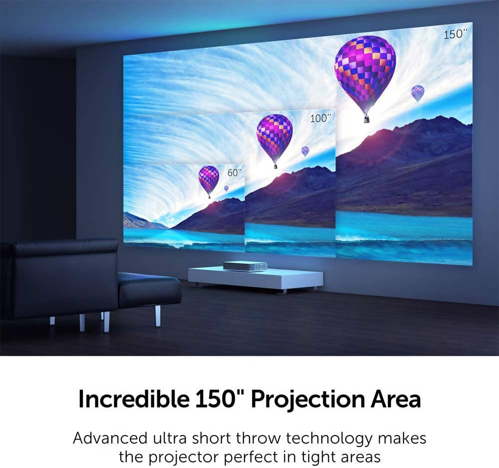 VAVA Laser Smart TV Projector 4K HDR10 Ultra-Short Throw, Home Movie Projector 2500 Lumens, Built-in Harman Kardon Sound Bar Cinema view - Compatible with Fire TV Stick, PS4, 3 HDMI, AV & USB - White - 2071MALL