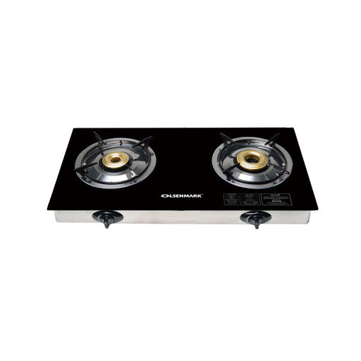 Olsenmark Glass Two Burner/Cast Iron India/LPG/OMK2317 - 2071MALL