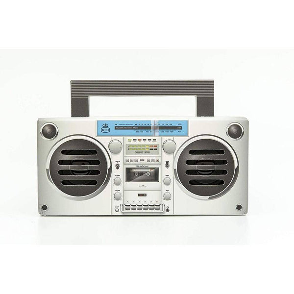 GPO Retro - Bronx Boombox Bluetooth Portable Speaker -GPO-BRNX-810BT Silver - 2071MALL