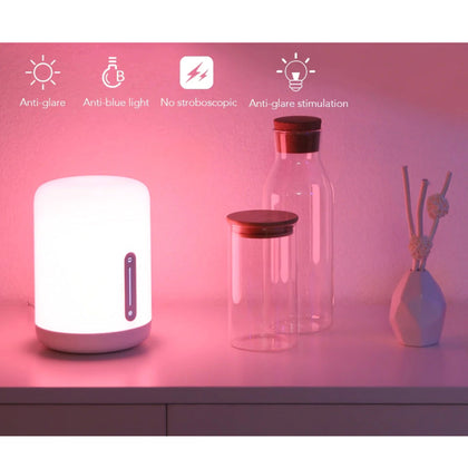 Xiaomi Mi Bedside Lamp 2 Mijia Smart Light Indoor Bed Desk Light RGB Color Changing Bluetooth WiFi Touch Control APP Via  Mi Home App, Apple HomeKit Siri Voice Control, Google Assistant /Alexa - White - 2071MALL