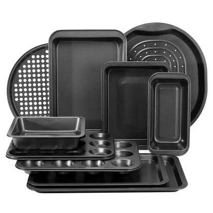 Royalford RFU9088 10pcs Bakeware Set Carbon Steel, Oven Safe, Premium Non-Stick Coating, 0.4MM Thick, PFOA, PTFE, and BFA Free - 2071MALL