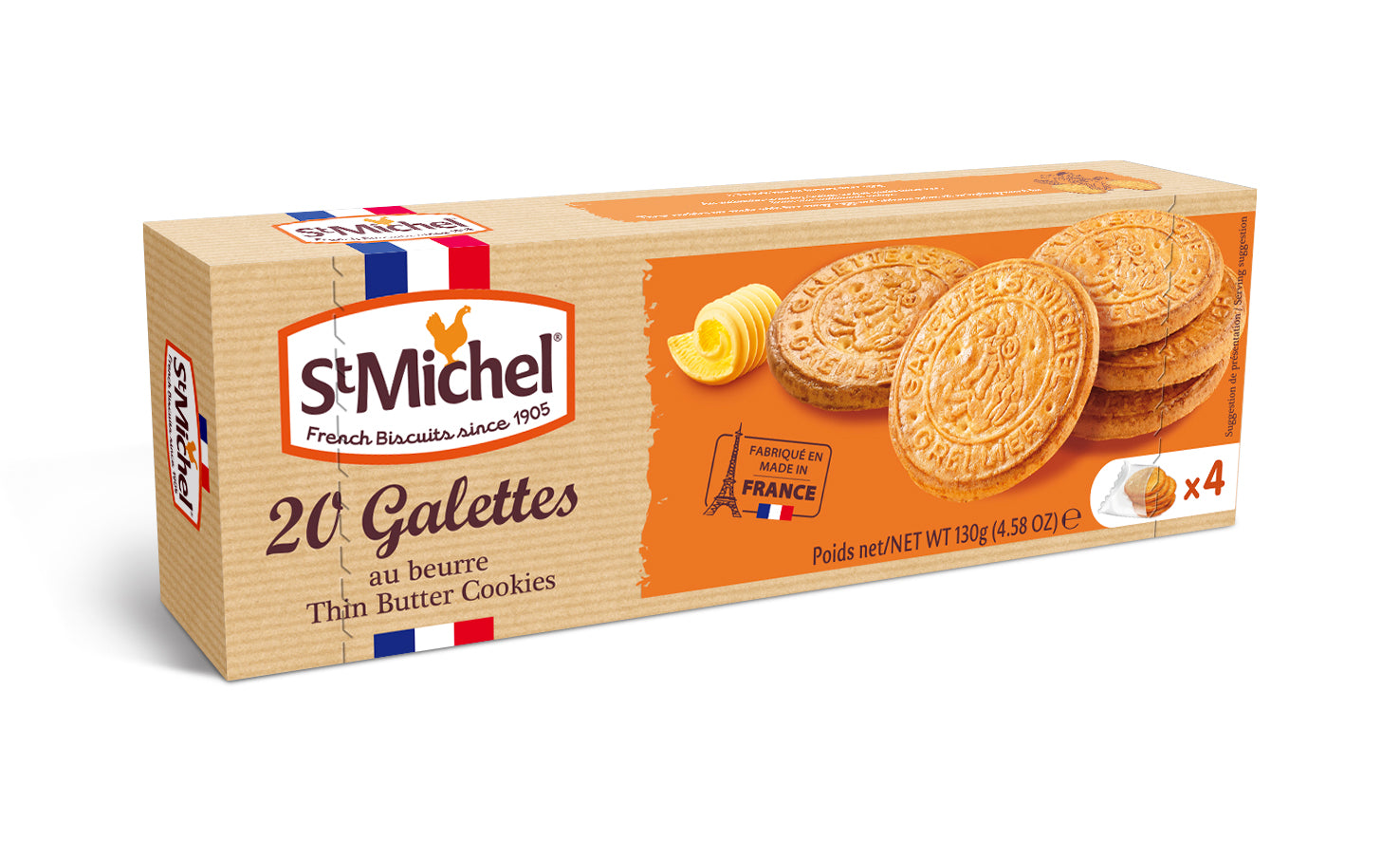 St Michel 20 Galettes Traditional Butter Biscuits 130G (Pack Of 12) - 2071MALL