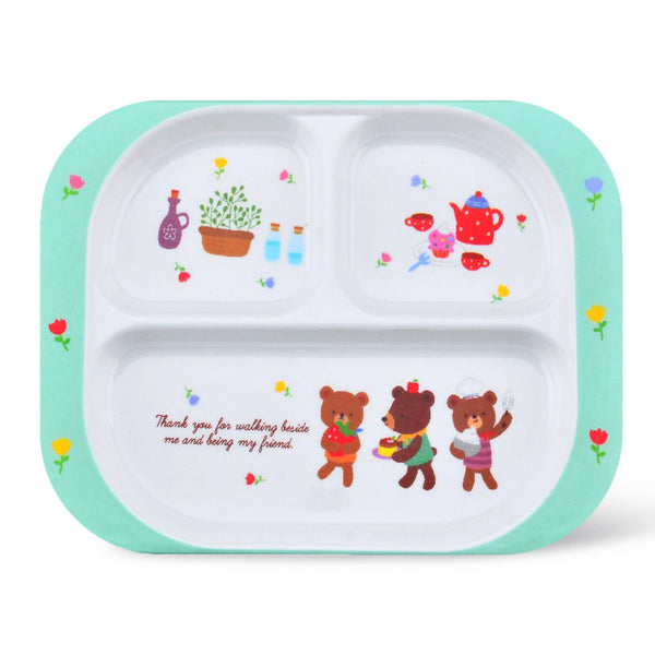 Royalford RF7247 Melamine Ware 3-section Rectangular Baby Plate, 25.6x18.8x2 CM