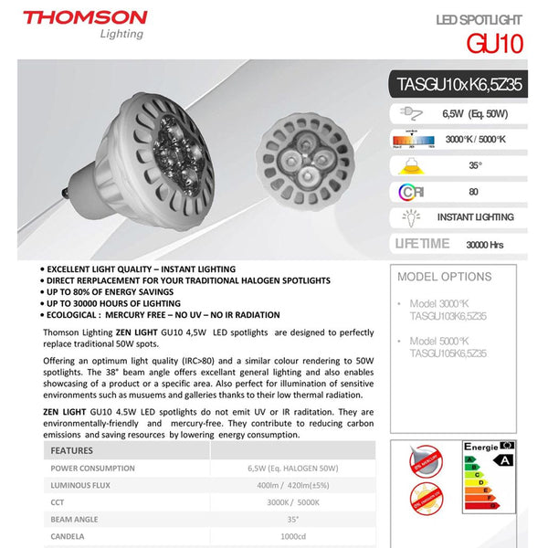 Thomson Spotlights GU10 LED ZENLIGHT White [Energy Saving] Class: A 5000K AC220~240V 6.5W 50 [Indoor] Egological [Mercury Free] Long Lasting 25000 Hours Life- Surfaced Lighting - Cool White Light - 2071MALL