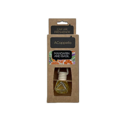 "Acappella CRAFT Pendant Car Air Freshener in glass bottle ""Mandarin & Basil"" - 2071MALL"