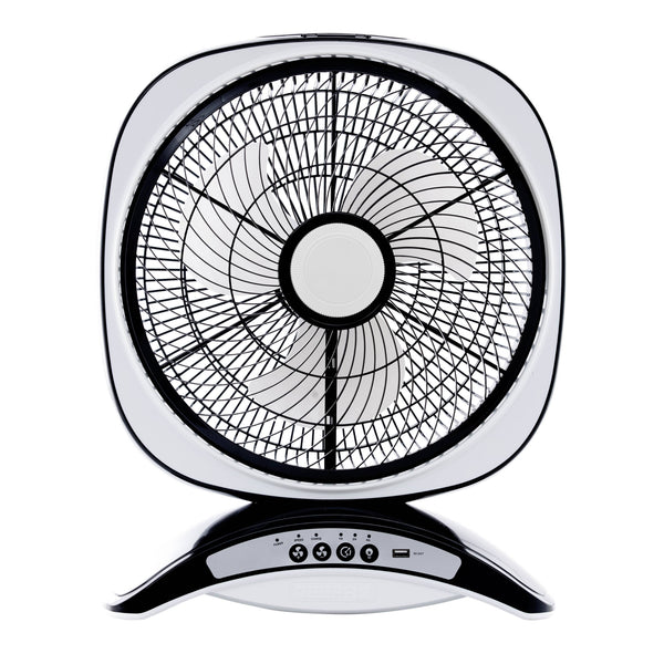 "Geepas 14"" Rechargable Fan Usb 5V Out 3 Speed 7hrs. 20 Led 1x3 - Black/White, GF969 - 2071MALL"