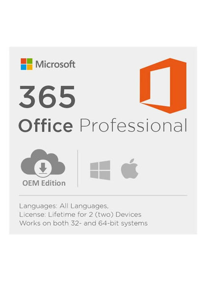 Microsoft Office 365 Lifetime New Account For 2 PC (Windows/MAC) - Digital Code Only - 2071MALL