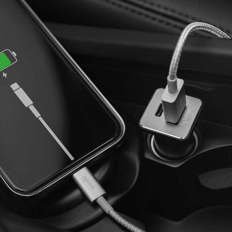 Moshi QuikDuo Car Charger with USB Type C and USB A Port Car adapter Black - 2071MALL