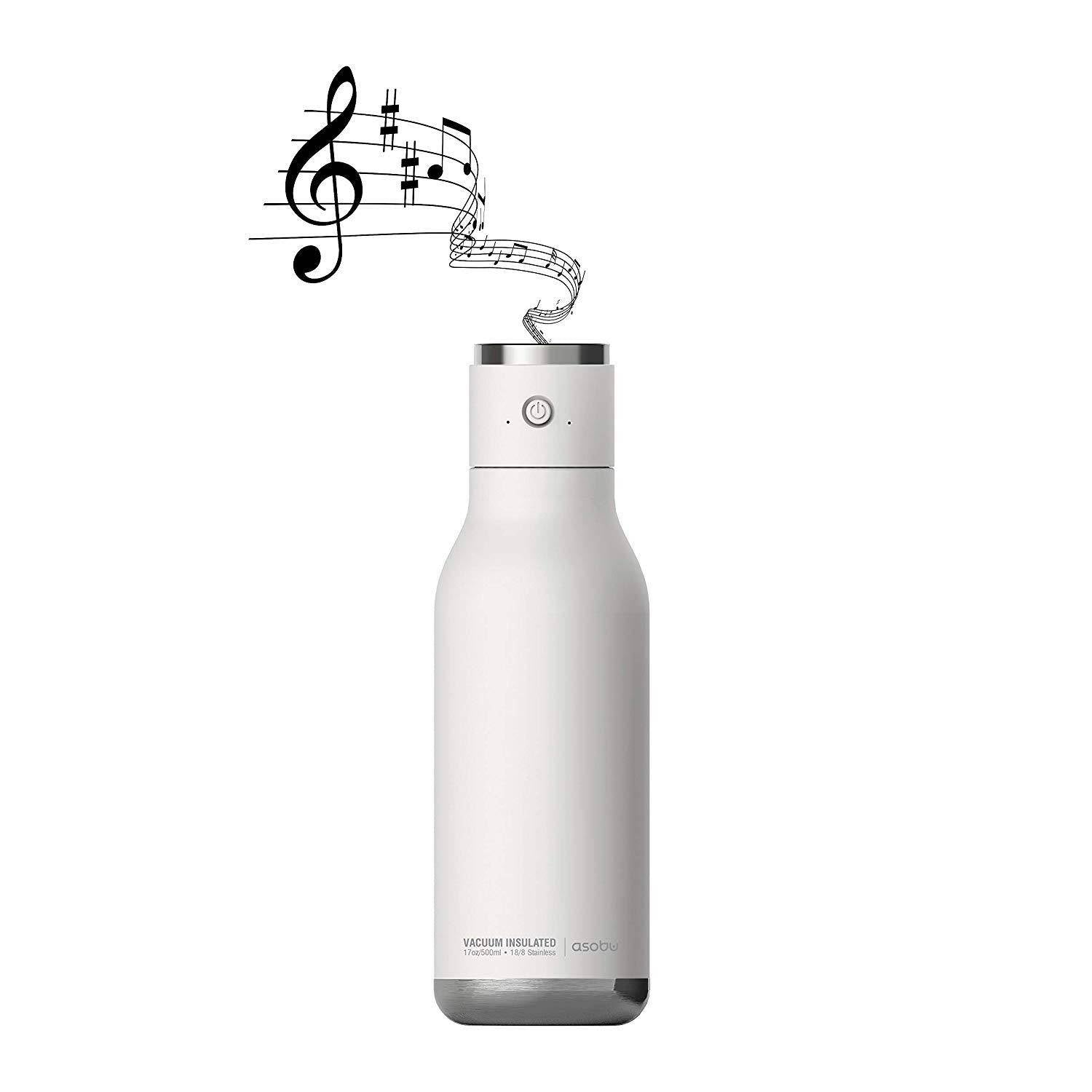 Asobu - Wireless Double Wall Insulated Stainless Steel Water Bottle with a Speaker Lid 17 Ounce - White - 2071MALL