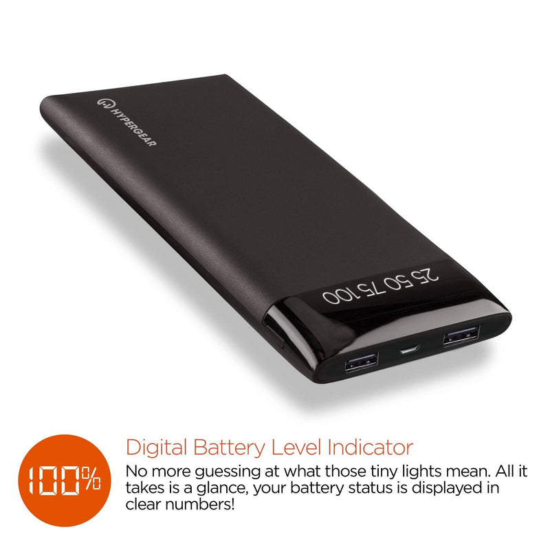 HyperGear - 8000mAh Universal Dual USB Portable Battery Pack with Digital Battery Indicator -HG-14042 Black - 2071MALL