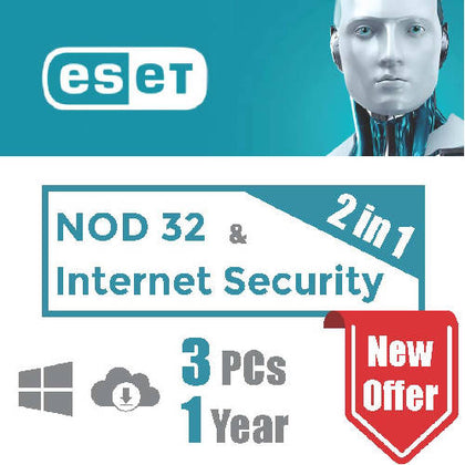 ESET NOD 32 & Internet Security (2 in 1 package) - 3 PC - 1 Year - 2071MALL