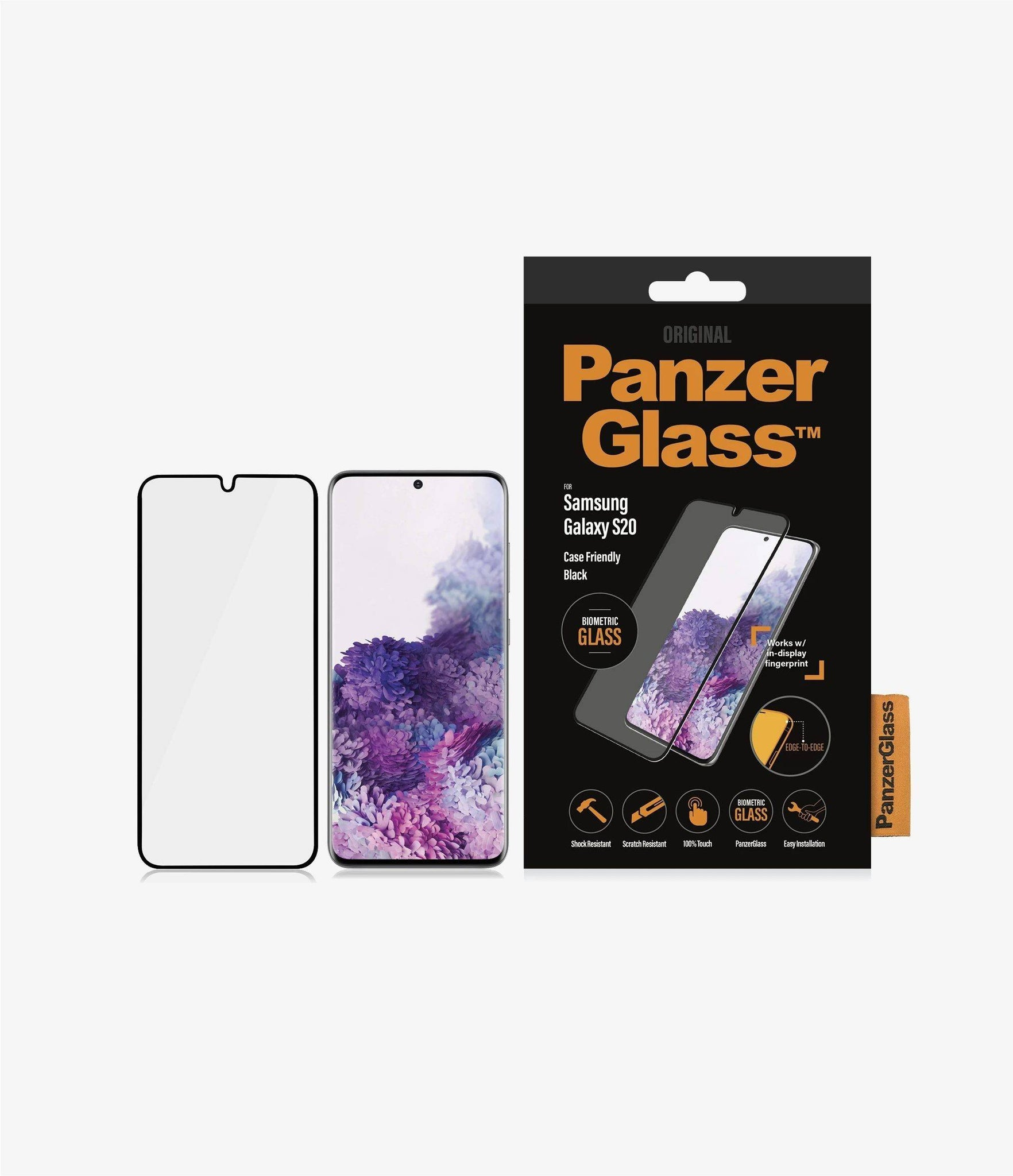 PanzerGlass - Samsung Galaxy S20 Screen Protector Biometric with Finger Prints - Black, PNZ7222 - 2071MALL