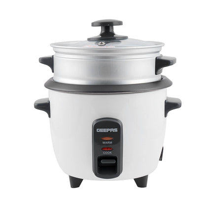 Geepas Electric Rice Cooker Cook & Warm 0.6L 1X6 - White - 2071MALL