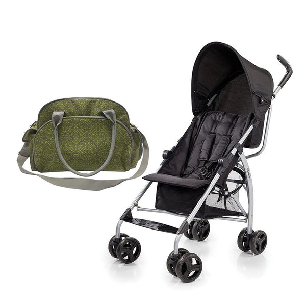 Summer Infant Changing Bag Limestone Berry  +  GO Lite Stroller - Black Jack - 2071MALL