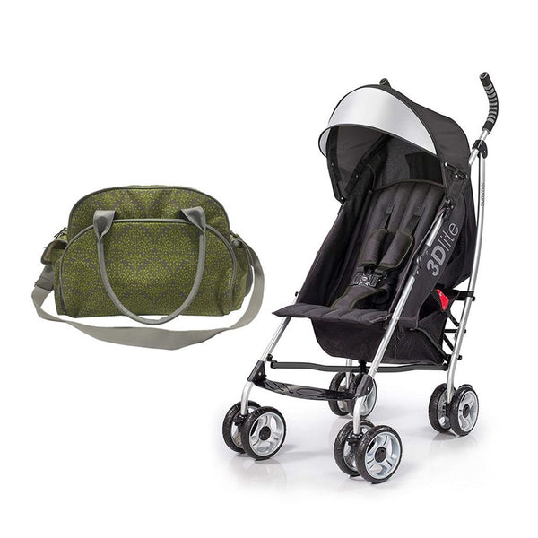 Summer Infant Changing Bag Limestone Berry  +  3D Lite Stroller Black - Combo - 2071MALL
