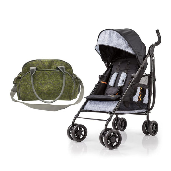 Summer Infant Changing Bag Limestone Berry  + 3D Tote Convenience Stroller Heather Grey - Combo - 2071MALL