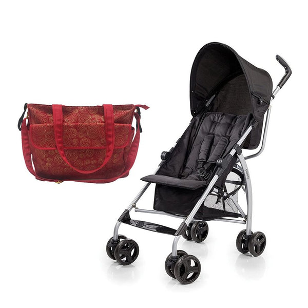 Summer Infant messenger Changing Bag Red/Gold swirl  +  GO Lite Stroller - Black Jack - 2071MALL