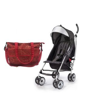 Summer Infant messenger Changing Bag Red/Gold swirl   +  3D Lite Stroller Black - Combo - 2071MALL