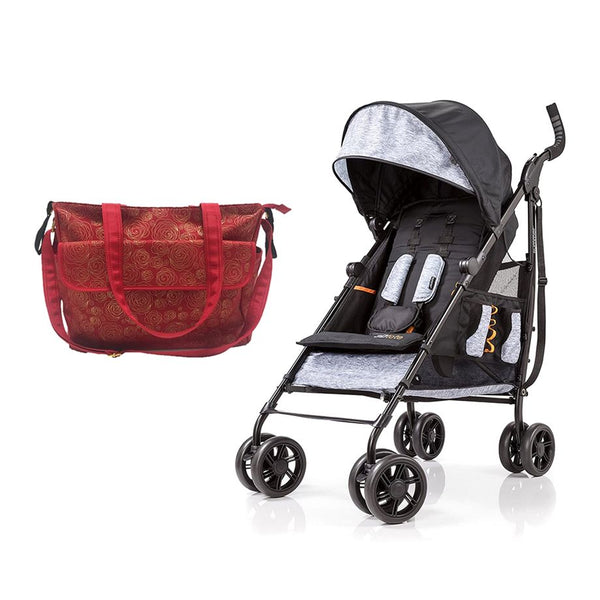 Summer Infant messenger Changing Bag Red/Gold swirl  + 3D Tote Convenience Stroller Heather Grey - Combo - 2071MALL