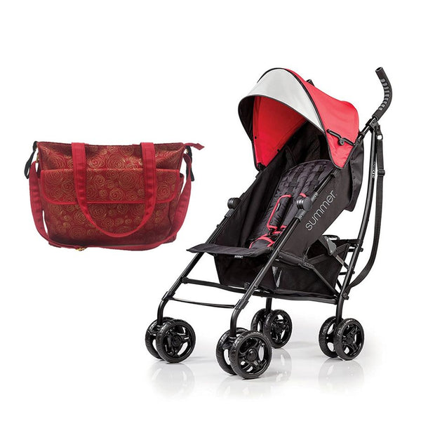 Summer Infant messenger Changing Bag Red/Gold swirl + 3D Tote Convenience Stroller Red - Combo - 2071MALL