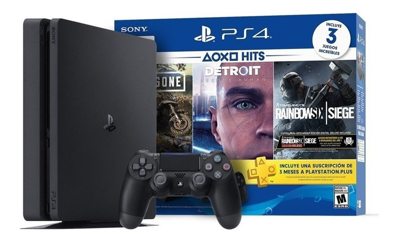 Sony PlayStation 4 Slim 1TB PS4 Slim Jet Black Mega Bundle with 3 Months PlayStation Plus Subscription + 3 Games (Daysgone, Detroit, Rainbow Six Siege) - 2071MALL