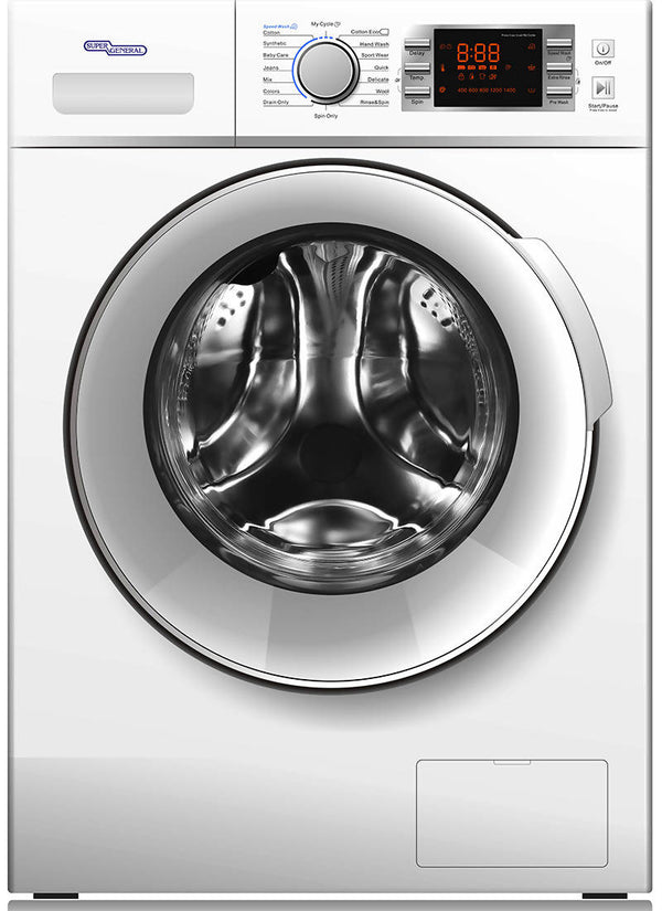Super General 8 kg 1400 RPM Front Load Washing Machine, SGW8400CRMS - 2071MALL