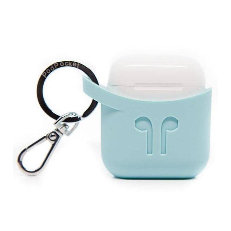 Pod Pocket - Silicone Case For Apple Airpods Aqua Blue - Aqua Blue, PP-APODS-AQUA - 2071MALL