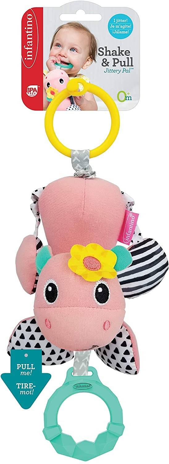 Infantino Shake & Pull Jittery Pal - Hippo Multicolor