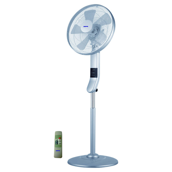 "Geepas 16""Stand Fan Remote Multcolor Led Display 1x1 - Gray, GF9466 - 2071MALL"