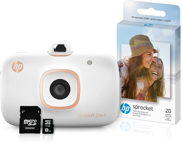 HP Sprocket 2-in-1 Portable Photo Printer & Instant Camera Bundle with 8GB MicroSD Card and ZINK Photo Paper ? White (5MS95A) - 2071MALL