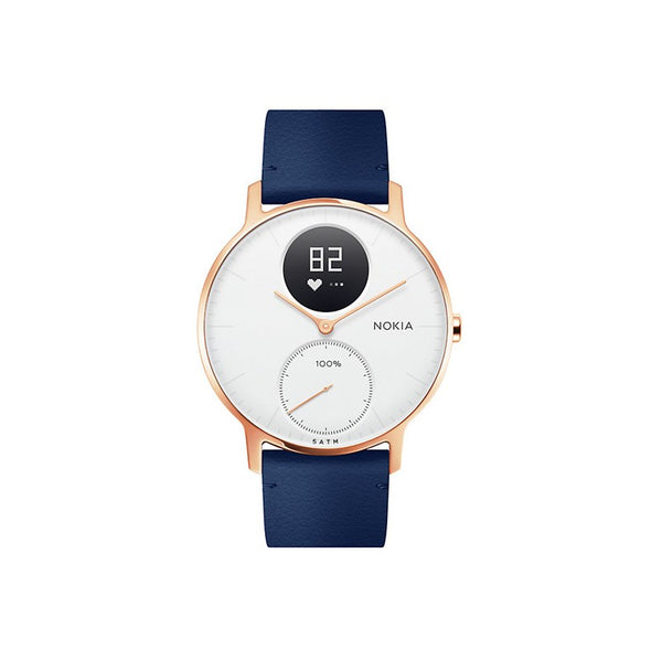 Withings Nokia Steel HR Hybrid Smartwatch 36mm - Ltd. Edition White/Blue Leather - 2071MALL