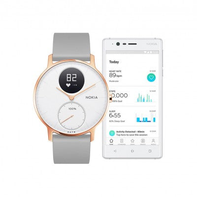 Withings Nokia Steel HR Hybrid Smartwatch 36mm - Ltd. Edition White/Grey Silicone - 2071MALL