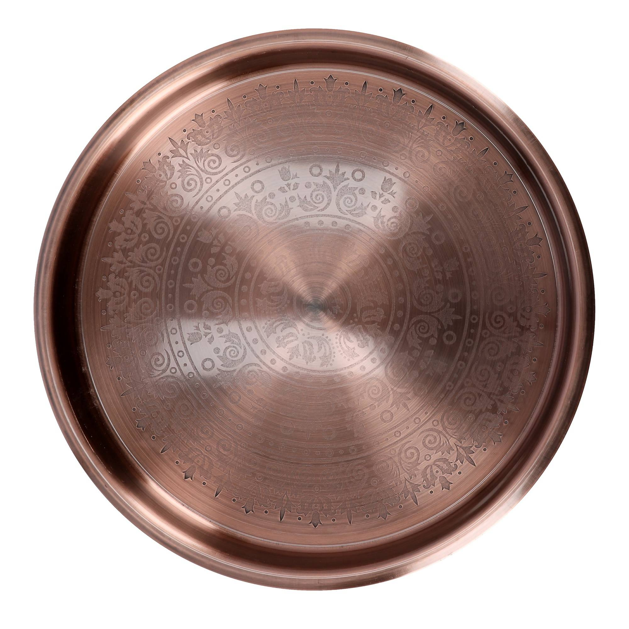 Royalford RF9568 40cm Copper Plated Round Tray - Round Plate Fade Proof Thali for Multi-Purpose Candle Holder Centrepiece, Home Dcor Decorative Table, Plants Ideal for Home, Hotel & Restaurants - 2071MALL