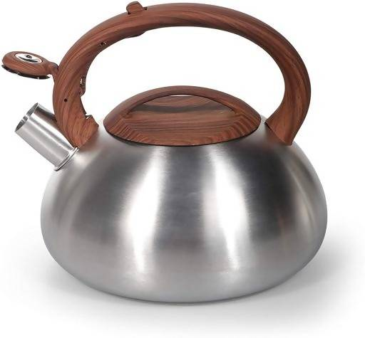 Royalford RF9669 3L Whistling Kettle - Portable Design Whistling Tea Kettle with Heat Wooden Finish Lid & Handle Ergonomic Pouring Spout