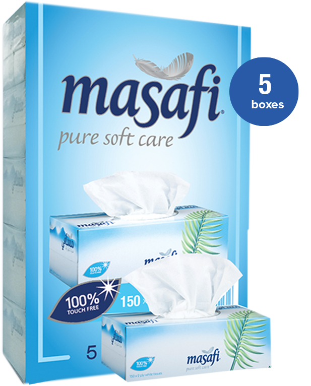 MASAFI Facial Tissue 150 x 2 Ply - 5 boxes - 2071MALL