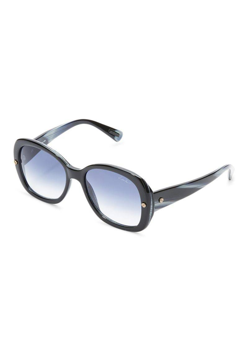 Lanvin Women's Oval Shape Marble Black White Blue Designer Sunglasses Black Frame Lens Blue - SLN500-55-J46 Size 55x18x140mm - 2071MALL