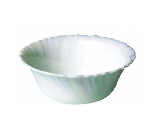 Royalford 4.5-inch Opal WareSpin Bowl - Portable, Lightweight Bowl Breakfast Cereal Dessert Serving Bowl Dishwasher Safe Ideal for Rice, Pasta, Deserts, Icecream & More (White) - 2071MALL